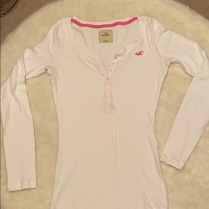 Hollister White Long Sleeve Tee Size M.